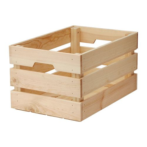 IKEA - KNAGGLIG, Box, , Perfect for storing larger things like tools and gardening tools, as the box is sturdy.You can save space by stacking two boxes on top of one another.Easy to pull out and lift as the box has handles.Untreated solid pine is a durable natural material that can be painted, oiled or stained according to preference.