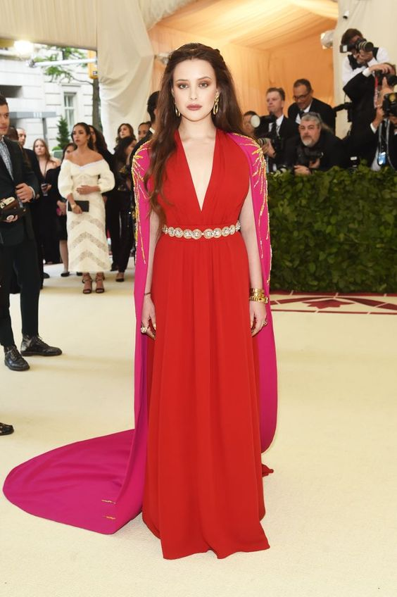 Met Gala 2018 , Red Carpet , Met Gala Red Carpet , Met Gala best dressed , Celebrity Style , style stars , Metropolitan Museum of Art's Costume Institute gala , Metropolitan Museum of Art's Costume Institute gala, Katherine Langford , 13 Reasons Why , Ruby red maxi dress , red evening gown , gold accessories