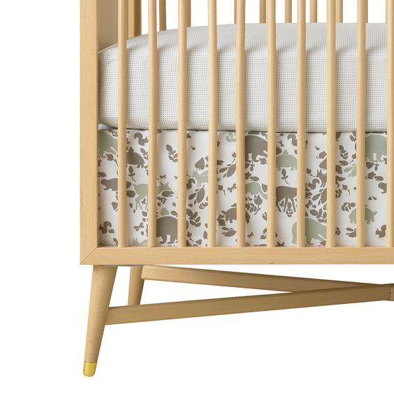 DwellStudio Woodland Tumble Mocha Percale Crib Skirt, now available at #polkadotpeacock. #peacocklove #newandnoteworthy #dwellstudio