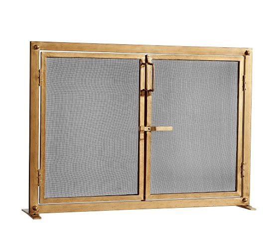 Industrial Fireplace Small Single Screen At Pottery Barn Organization Fireplace Tools Fireplace Screens Industrial Fireplaces Fireplace Screens Brass Fireplace Screen