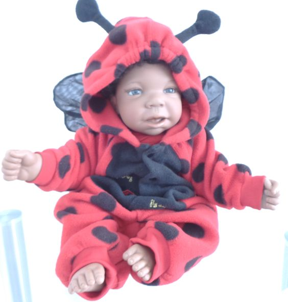 """She's cute as a bug, and great for snuggling! Lorna Miller's """"Snuggle With Me"""" African American 21"""" Middleton Doll has been redressed in a cute ladybug outfit and comes complete with her own collectible Ty ladybug plush toy. All for only $119 with FREE US SHIPPING at http://kinderlanddolls.net/Snuggle_With_Me_Redress.php"""