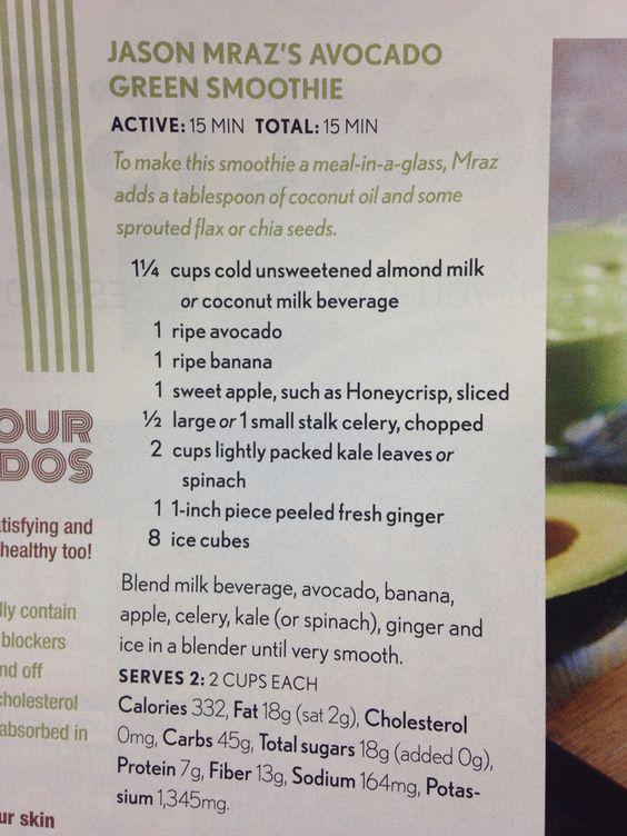 Jason Mraz's Avocado Green Smoothie