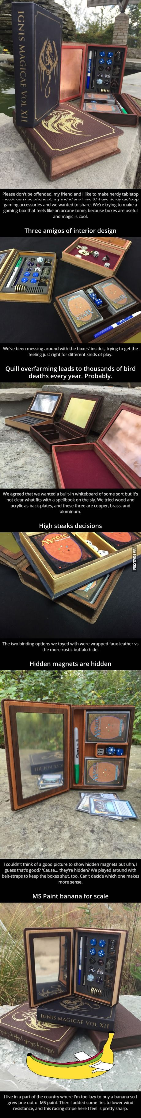 They made some spellbook-styled gaming boxes!