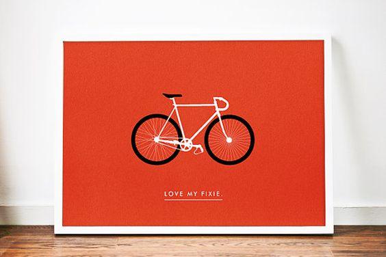 Fixed Gear Fahrrad Plakatkunst. Drucken Sie Funktionen minimale Abbildung eines Fixed Gear Bikes mit Typografie Love mein Fixie. Die standard