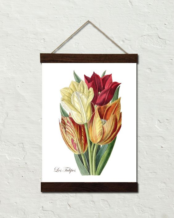 Vintage Tulips No. 40 Botanical Art Canvas Wall Hanging