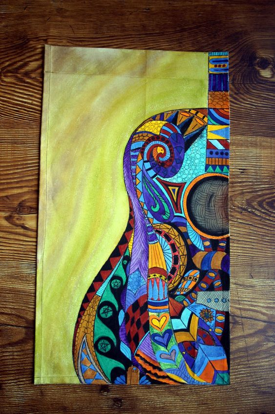 Acrylic painting on canvas acrylic guitar by for Cool canvas painting ideas