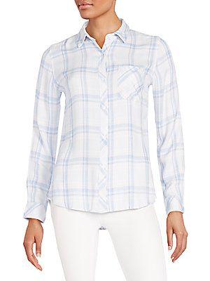 Rails Hunter Plaid Shirt - Sky Blue - Pink - Size
