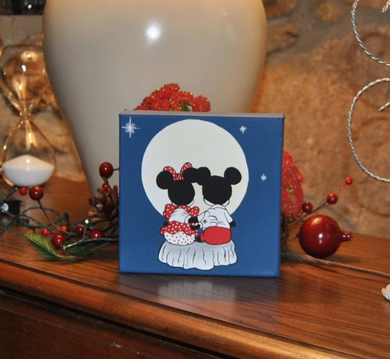 Mickey Mouse Minnie Mouse Canvas painting  Desk Office display Gift Wedding Couples Love painting kids by HopesArtGallery on Etsy