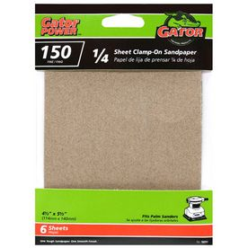 Gator 6-Pack 150-Grit 4-1/2-in W x 4-1/2-in L 1/4 Sheet Clamp-on Sandpaper $1.43 at Lowes