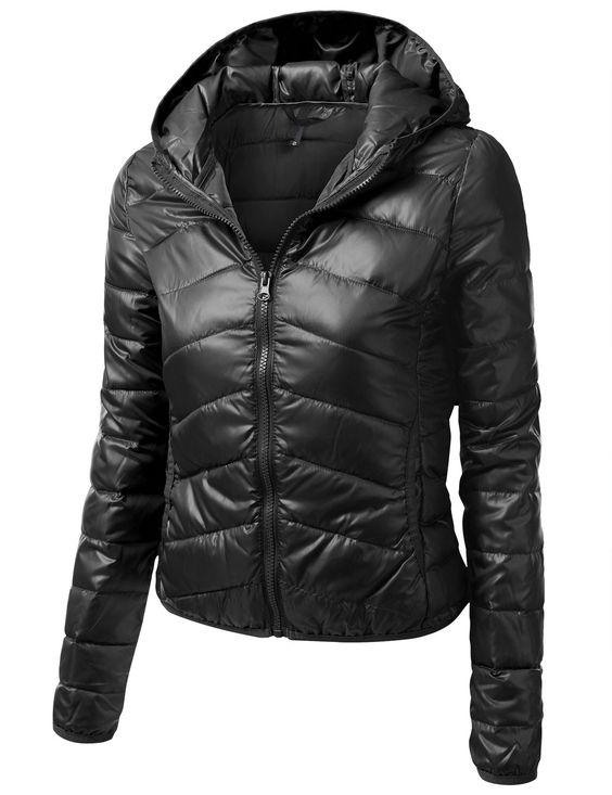 Womens Light Down Jacket with Hood #doublju