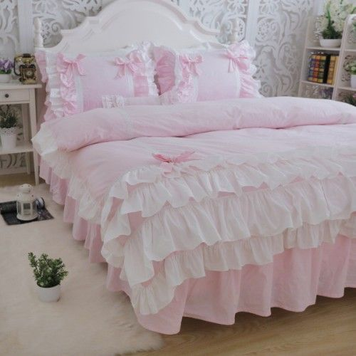 Princess Pink Ruffle Duvet Cover Set Shabby Chic Schlafzimmer
