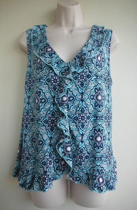 GEORGE Top Size Large Ornate Two Shades of Blue White Ruffled