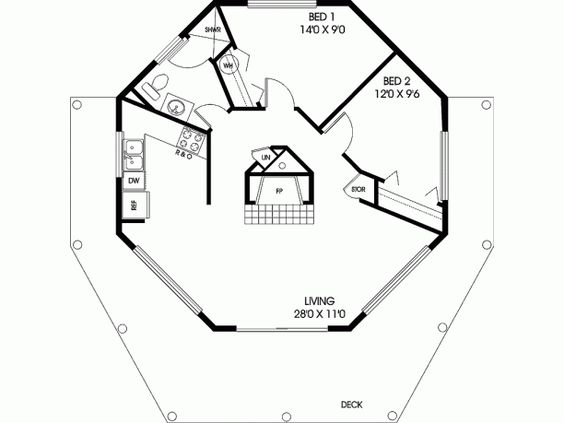 Octagon house small house ideas pinterest home for Octagon cabin floor plans