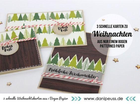 Tutorial 3 schnelle Weihnachtskarten aus 1 Bogen Patterned Paper mit…