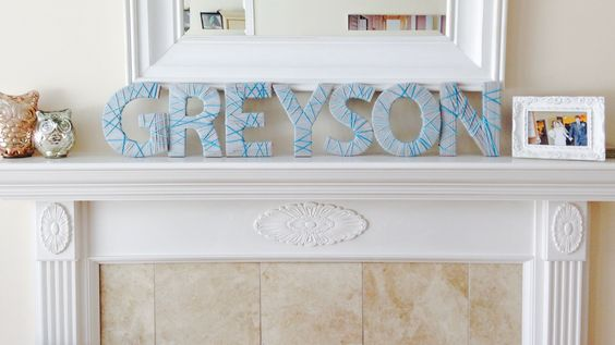 cardboard letters wrapped in yarn for babies first birthday | reuse for nursery or playroom | A Grey Soiree Event Planning & Paperie