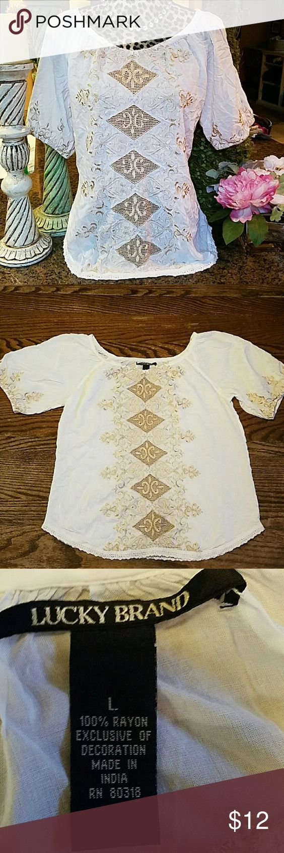 Lucky Peasant Gorgeous soft white peasant top with embroidered sleeves and front. Lucky Brand Tops Blouses