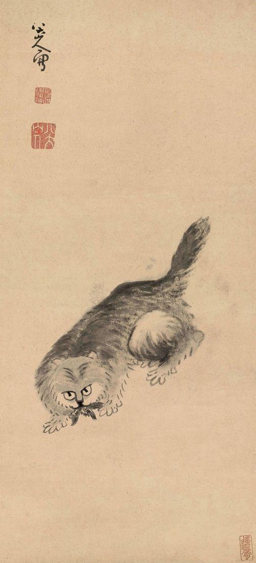 Bada Shanren (Zhu Da: 八大山人, ca.1626-1705): Cat and Butterfly 八大山人 貓戲蝶圖: