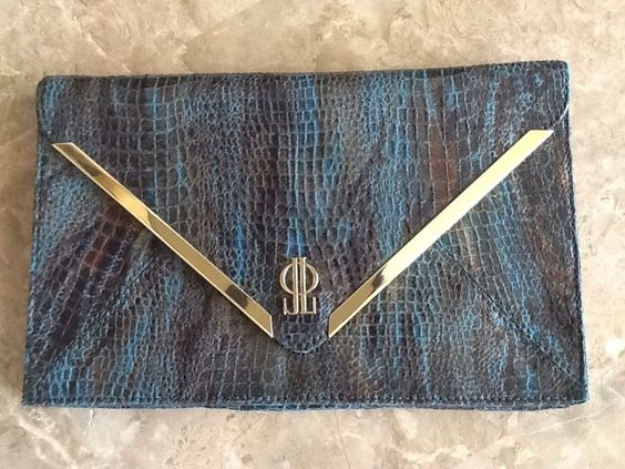 NWOT JENNIFER LOPEZ LARGE OVERSIZE ENVELOPE CLUTCH SHOULDER BAG BLUE SNAKESKIN #JenniferLopez #Clutch