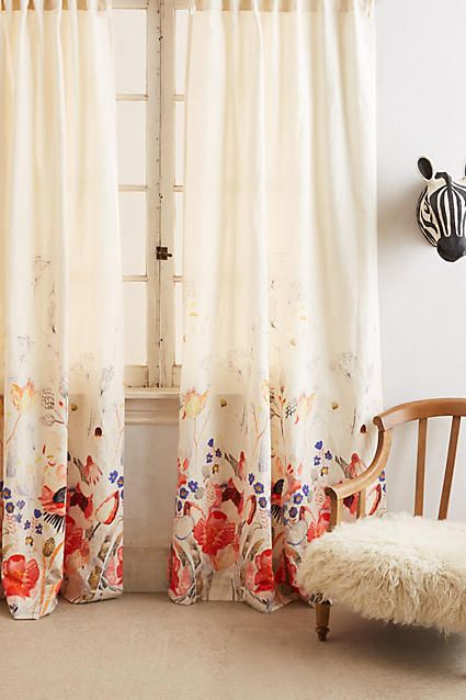 pretty draped floral curtains