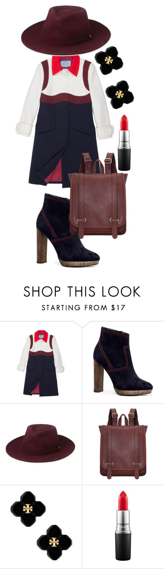 """Untitled #587"" by parcocafe ❤ liked on Polyvore featuring Prada, Burberry, Whistles, Tory Burch and MAC Cosmetics"