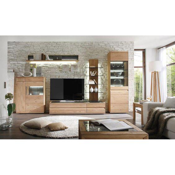 Belmondo Wohnwand inkl Beleuchtung, Sonoma Eiche Wenge Huisdeco - moderner wohnzimmerschrank mit glastüren und led beleuchtung