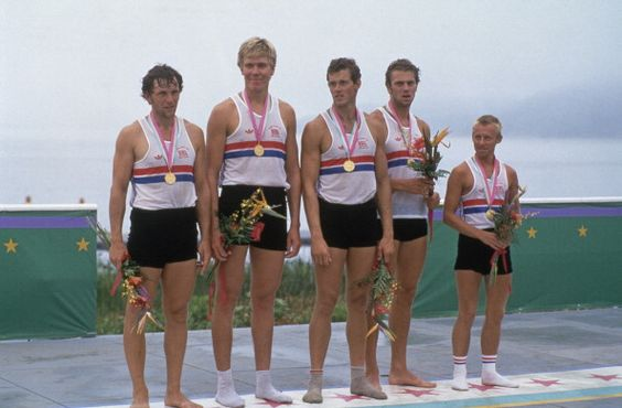 The Team GB rowing four with their coxswain, after winning the gold medal at the Summer Olympics in Los Angeles, 1984. They are Martin Cross, Richard Budgett, Andy Holmes, Steve Redgrave and Adrian Ellison.