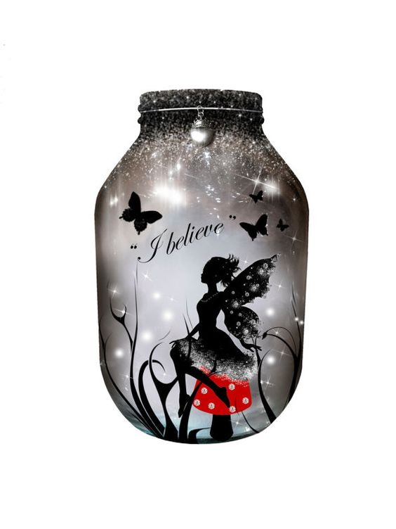 Hand painted #Fairy Lantern red candle holder light by melOnDesign