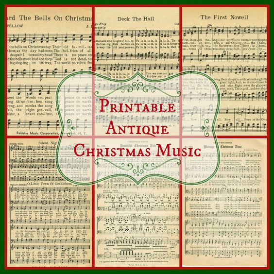Free Printable Christmas Sheet Music for crafts, home decor and Christmas gifts from KnickofTime.net