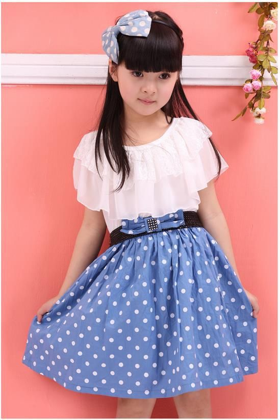 Girls kid dot lace colorful point fahion confortable short Fashion style for short girl