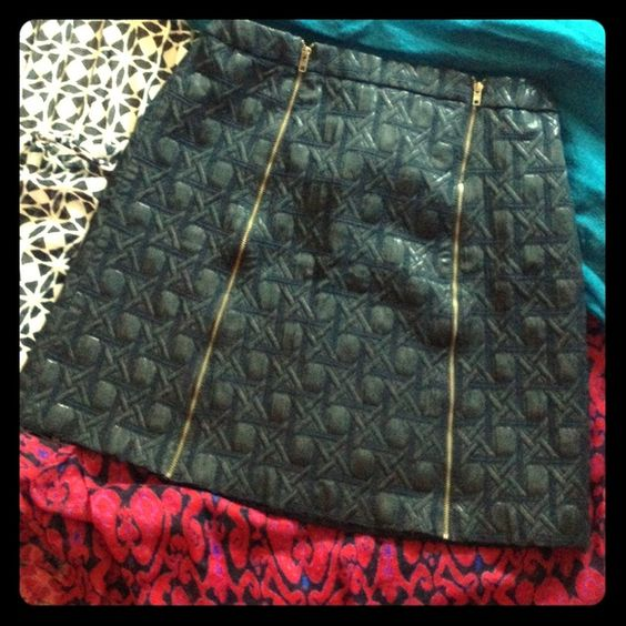Quilted black skirt with two brass colored zippers Only worn once!! Quilted black skirt with two brass colored zippers. Stops 3 inches above the knee. Expensive but removed tag because it was annoying. Perfect with black tights and black ankle or riding boots. Only wore once on my birthday. Size 4. No PayPal No Trades Skirts