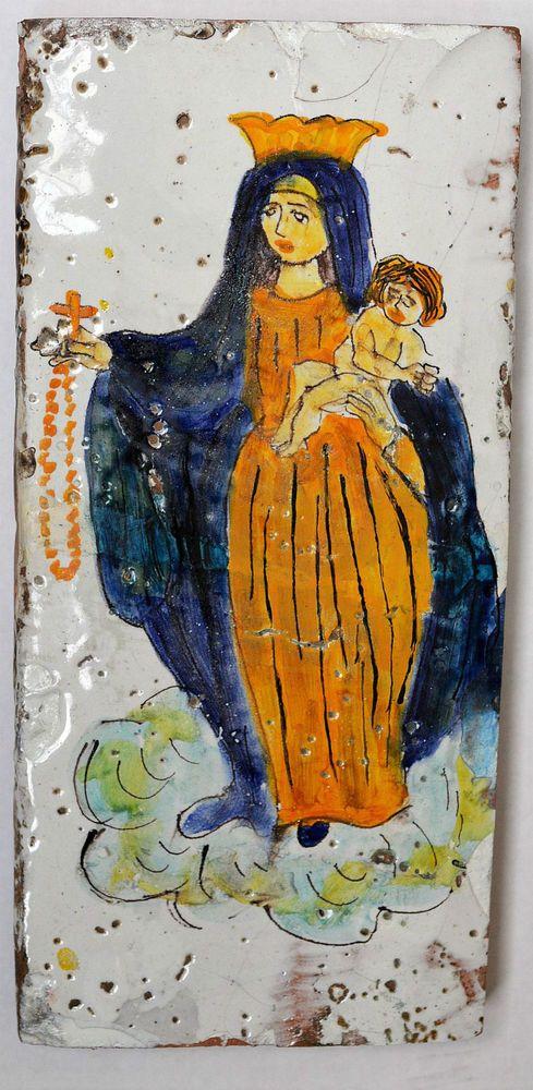 Große Fayence Kachel Fliese wohl 17./18. Jh. Spanien/ Italien handbemalt 30x14cm