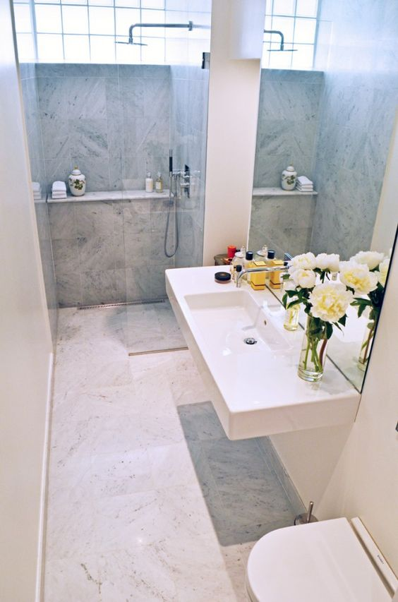 shelves showers spaces narrow bathroom compact trough sink the narrows ...