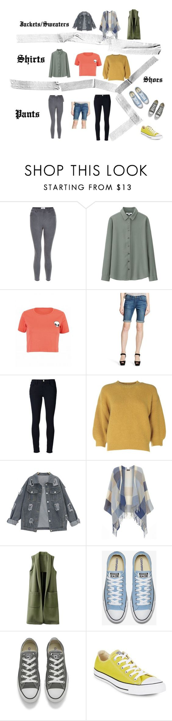 """Outfits"" by deadmagenta on Polyvore featuring New Look, Uniqlo, Mossimo, Frame Denim, 3.1 Phillip Lim, Dorothy Perkins and Converse"