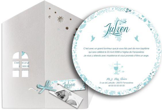 Faire part baptême pochette tout en douceur avec un univers aérien qui charmera vos invités, ref N90019