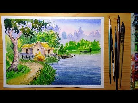 Indian Village Scenery Watercolor Painting How To Draw Landscape Youtube Watercolor Scenery Scenery Paintings Nature Art Painting