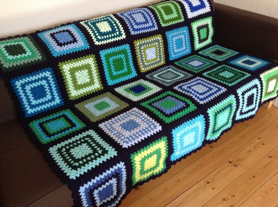 Blue Crochet Blanket Green Crochet Afghan 50x60 by PhoenixSmiles