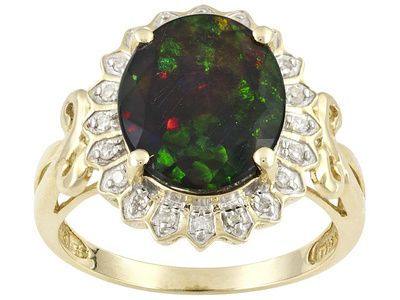 Chalama black opal with diamonds in gold. This is an Ethiopian opal treated with smoke to darken the opal.