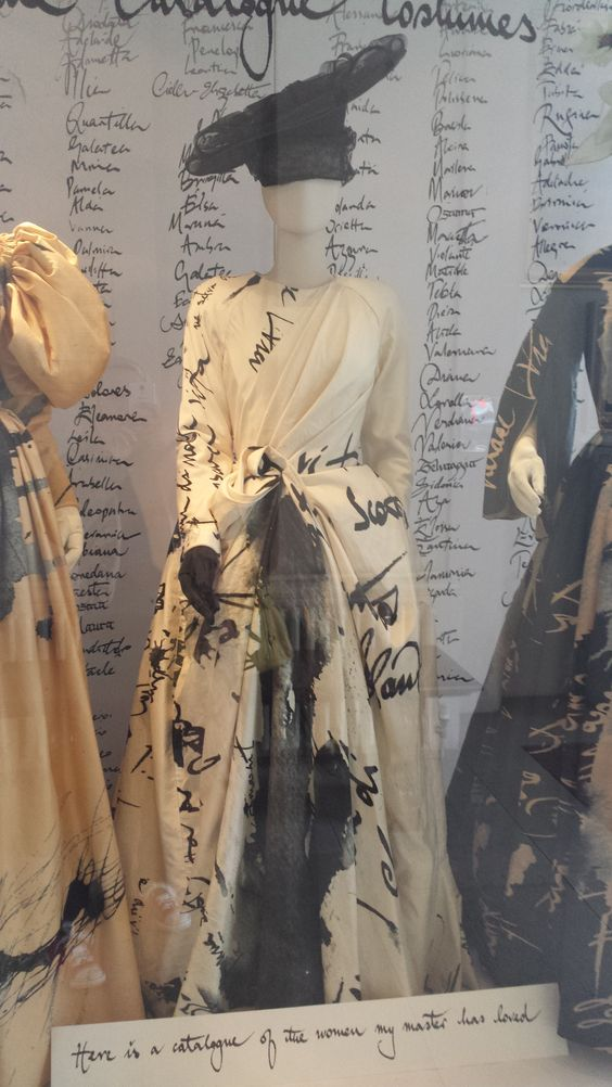 Stunning costume display at London's Royal Opera House. I love the letter prints on the garment and color combinations. Image by Ineta Joksaite