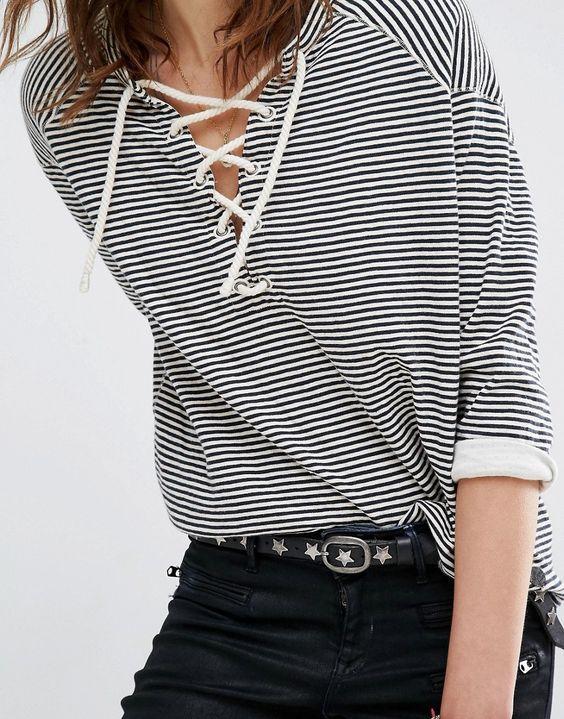 Image 3 of Maison Scotch Striped Sweatshirt With Lacing