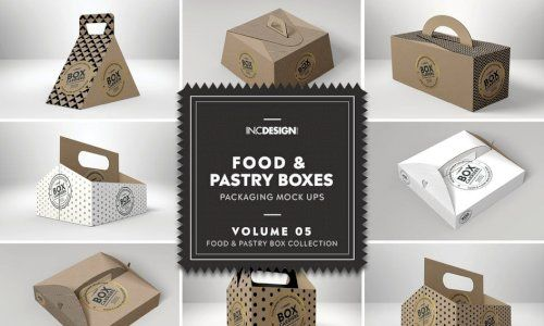 Download Download Food Pastry Boxes Vol 5 Carrier Boxes Mockups G4ds Hexagon Box Box Mockup Gold Foil Print