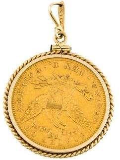 14k Ten Dollar Coin Pendant Coin Pendant Dollar Coin Pendants