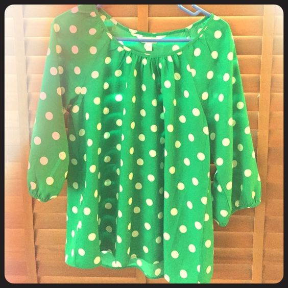Green with white polka dot blouse Green with white polka dot scoop neck blouse. 3/4 sleeves. Charming Charlie Tops Blouses