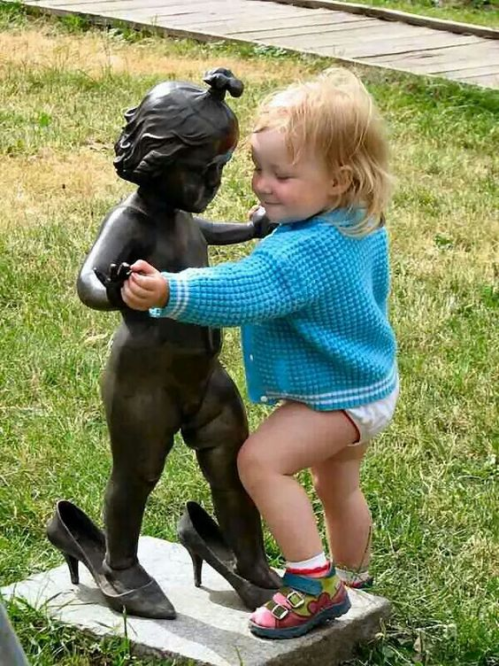 Having fun with statues