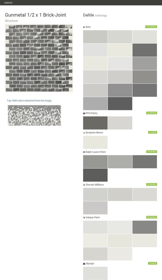 Gunmetal 1/2 x 1 Brick-Joint. Structure. Anthology. Daltile. Behr. PPG Paints. Benjamin Moore. Ralph Lauren Paint. Sherwin Williams. Valspar Paint. Olympic.  Click the gray Visit button to see the matching paint names.