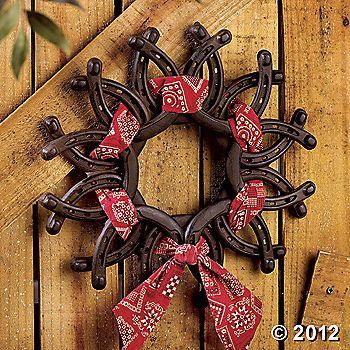 Horseshoe Barn Wreath - rodeo western
