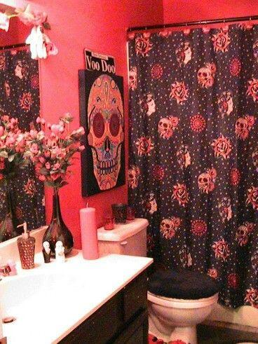 skulls skull fashion pinterest skull sugar skull and bathroom ideas. Black Bedroom Furniture Sets. Home Design Ideas