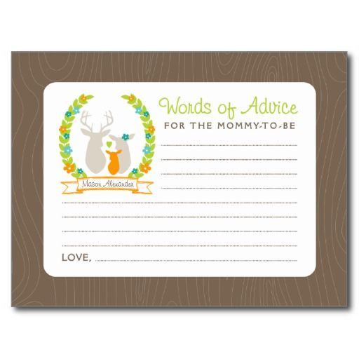 Whimsical Woodland Deer Baby Shower Advice Cards Postcard