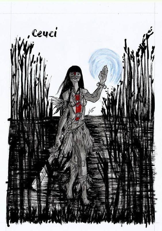 Ceuci é a deusa protetora das lavouras e das moradias.  Artista: Vinicius Galhard
