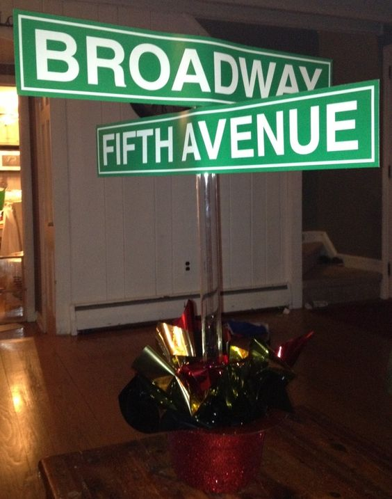 centerpieces new york themed events   Broadway / New York centerpiece