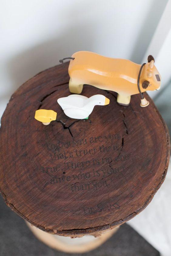 Wooden animals ,tree stump, wood burn, handmade tree stump stool, Dr Suess